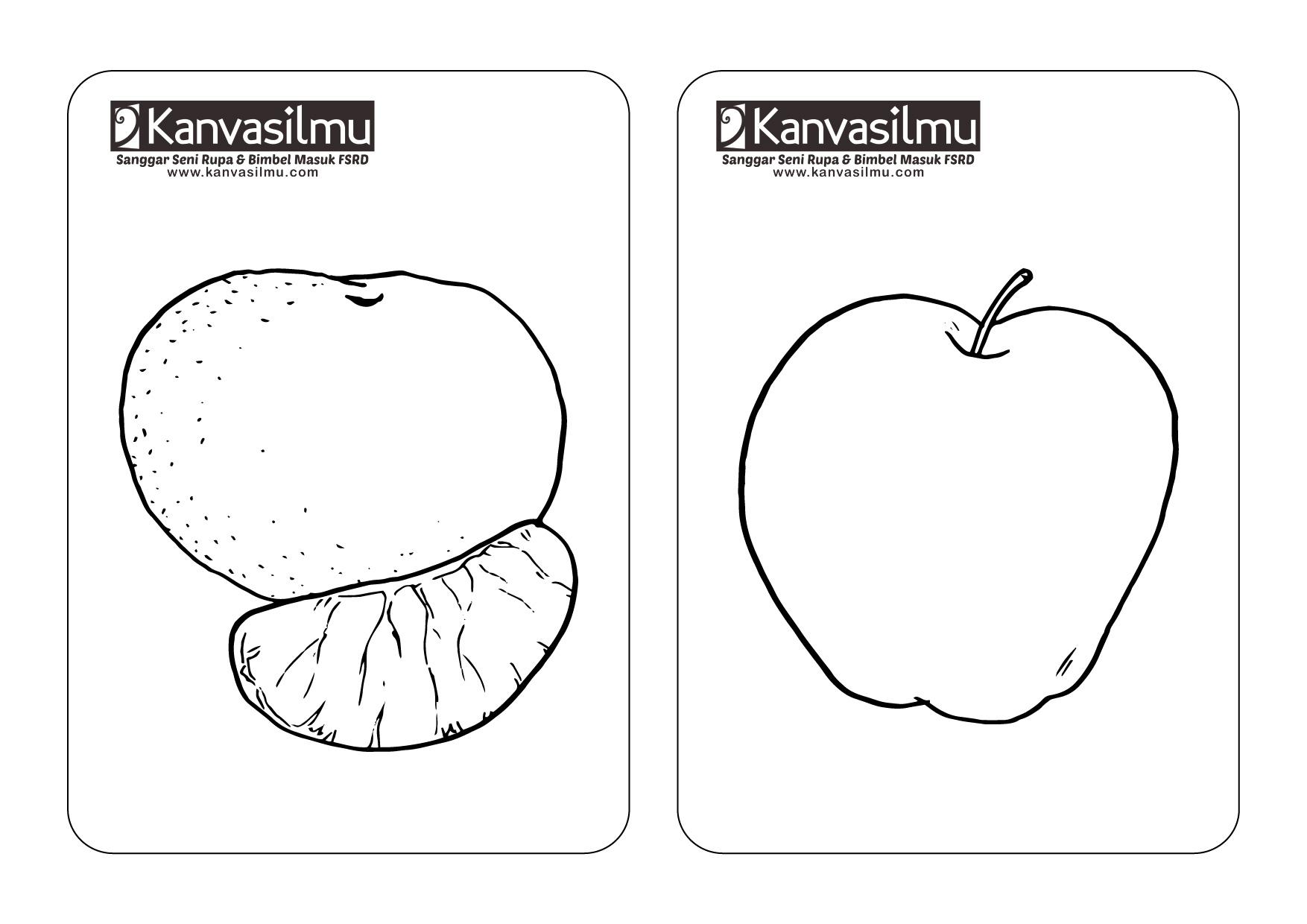 Lembar Mewarnai Buah Jeruk Dan Apel Kanvasilmu