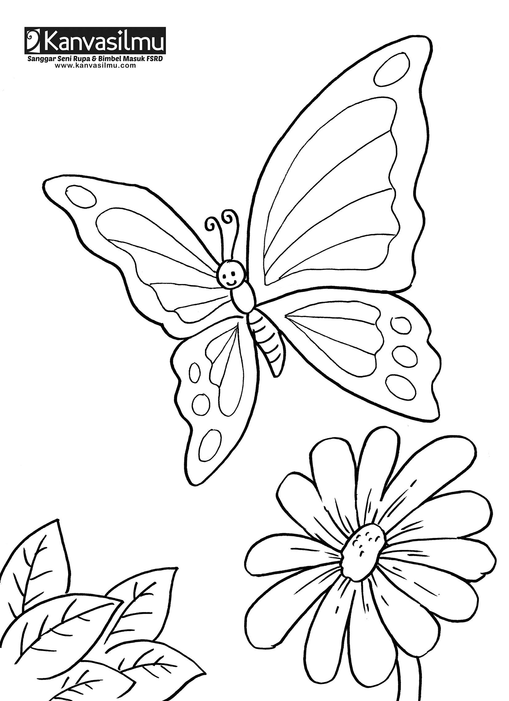Lembar Mewarnai Bunga & Kupu Kupu Kanvasilmu