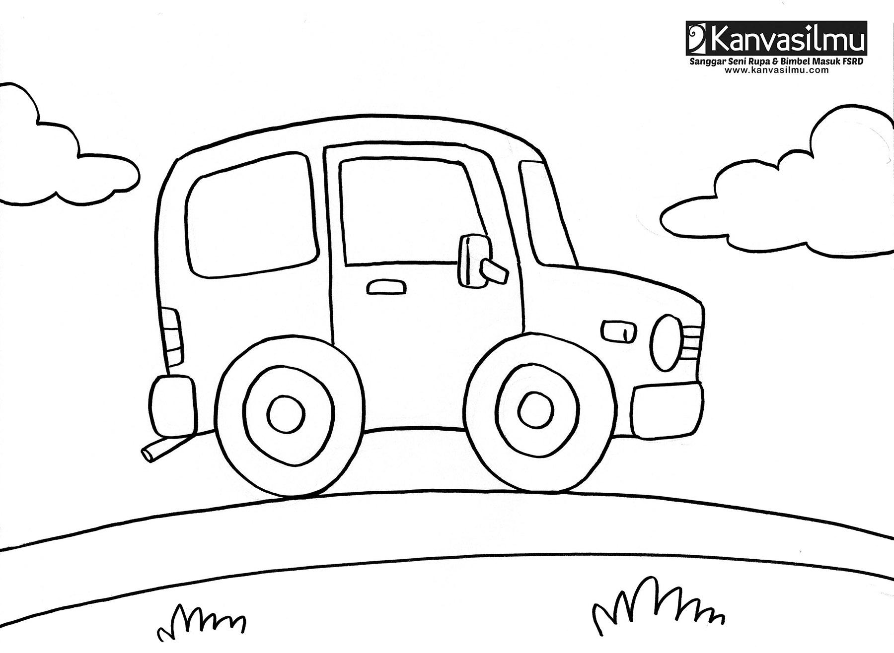Lembar Mewarnai Mobil 1 Kanvasilmu